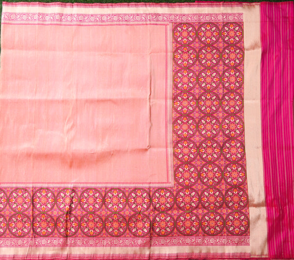 Handloom Pure Tissue Silk Orange Banarasi Saree - Khinkhwab