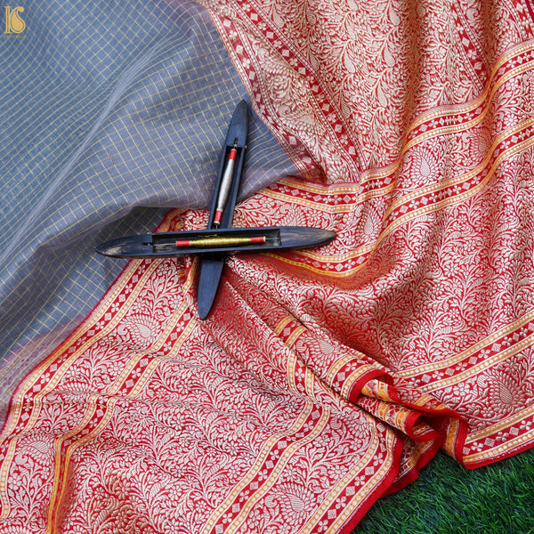 Rock Blue & Red Pure Kora Handloom Banarasi Check Saree - Khinkhwab