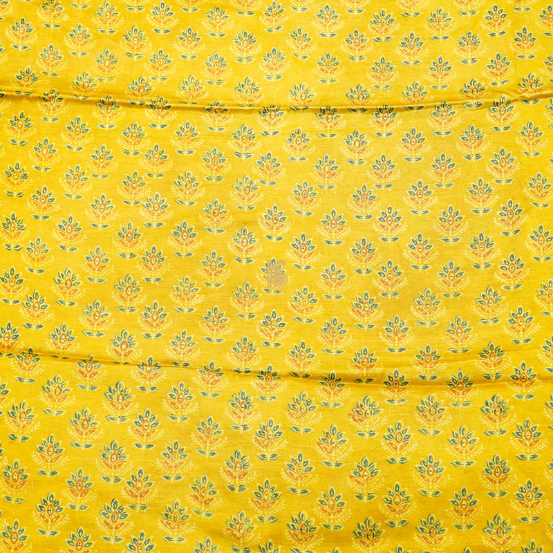 Yellow Pure Mashru Silk Ajrakh Fabric - Khinkhwab