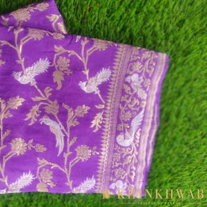 Lilac Purple Pure Georgette Handloom Banarasi Dupatta with Birds Motifs - khinkhwab