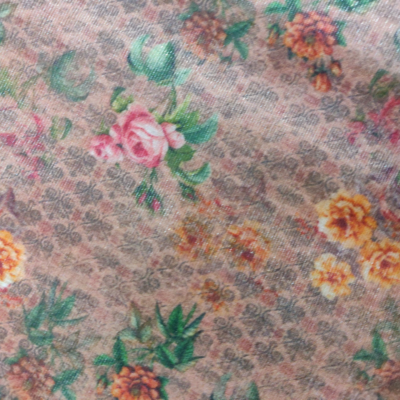 Orange Pure Cotton by Tissue Digital Print Fabric - Khinkhwab