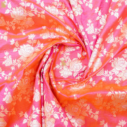 Tea Rose Pure Katan Silk Banarasi Fabric - Khinkhwab