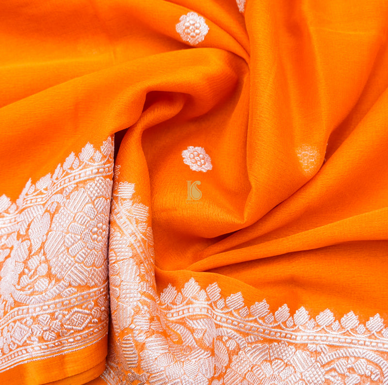 Carrot Orange Pure Georgette Handloom Banarasi Saree - Khinkhwab