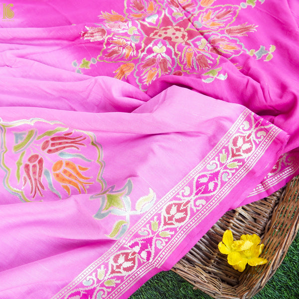 Lavender Rose Pink Pure Moonga Silk Banarasi Saree