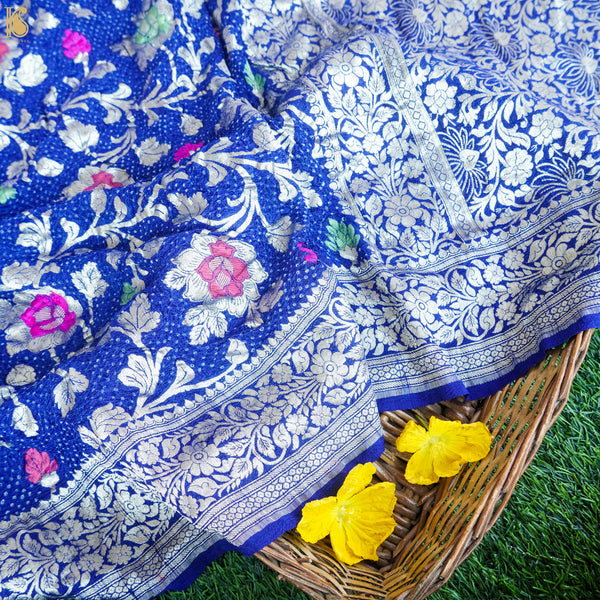 Egyptian Blue Tussar Silk Banarasi Bandhani Saree