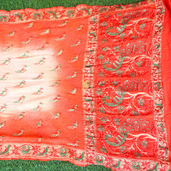 Red Orange Pure Georgette Handloom Banarasi Bandhani Shikargah Saree