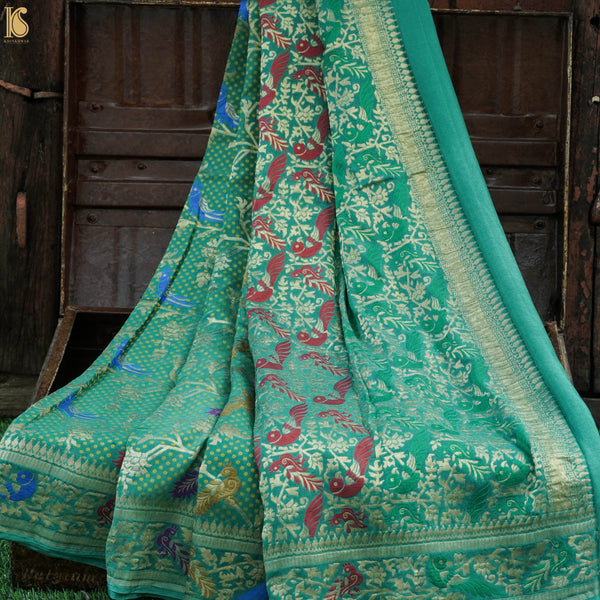 Green Pure Georgette Birds Banarasi Saree - Khinkhwab