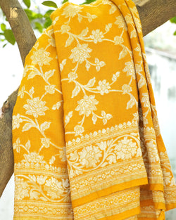 Tuscan Sun Yellow Pure Moonga Silk  Banarasi Saree - Khinkhwab
