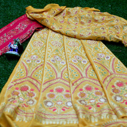 Bumblebee Yellow & Red Pure Moonga Silk Handloom Banarasi Lehenga with Meenakari & Hand Brush
