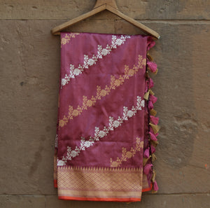 Grape Purple Pure Katan Silk Handloom Banarasi Leheriya Dupatta - khinkhwab