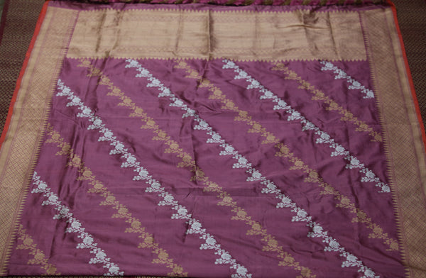 Grape Purple Pure Katan Silk Handloom Banarasi Leheriya Dupatta