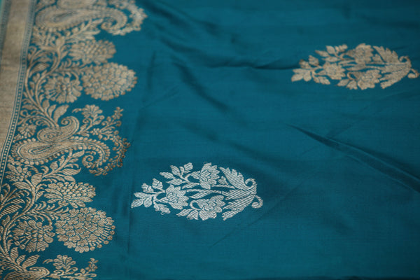 Turkish Blue Pure Katan Silk Handloom Banarasi Saree - khinkhwab