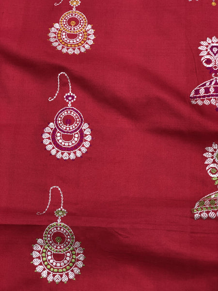 Ruby Red Pure Katan Silk Handloom Banarasi Saree with Jhumka Motifs