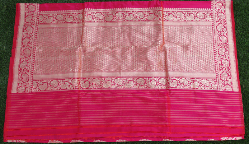 Pinkish Red Pure Katan Silk Handloom Banarasi Saree - Khinkhwab