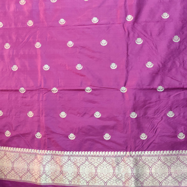 Magenta & Olive Green Pure Silk Handloom Banarasi 3 pcs Ensemble with Chaand Boota