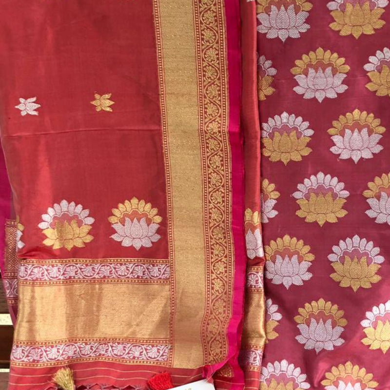 Punch Pink Pure Silk Handwoven Kurta Ensemble with Lotus Motifs - Khinkhwab