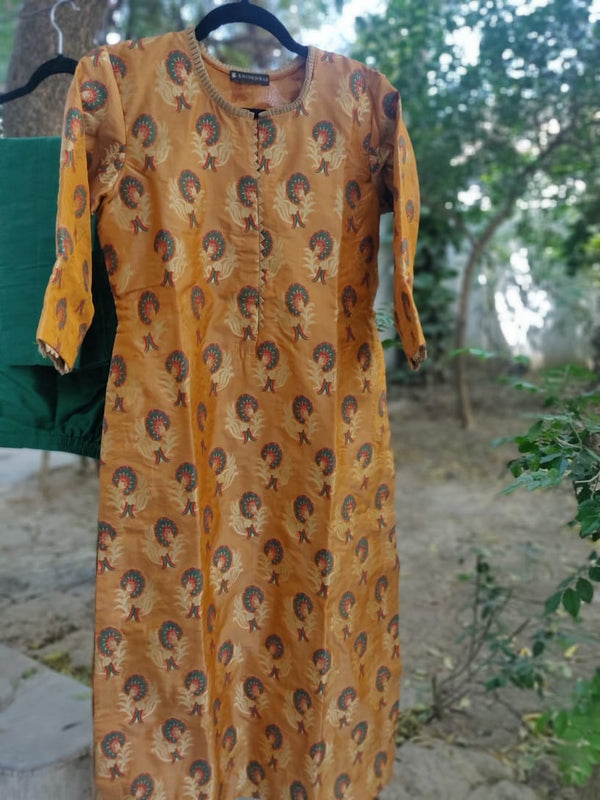 Mustard & Green Pure Banarasi Silk Stitched Kurta with Pants