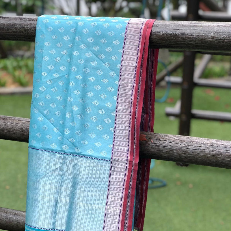 Baby Blue Pure Tissue by Silk Handloom Banarasi Dupatta