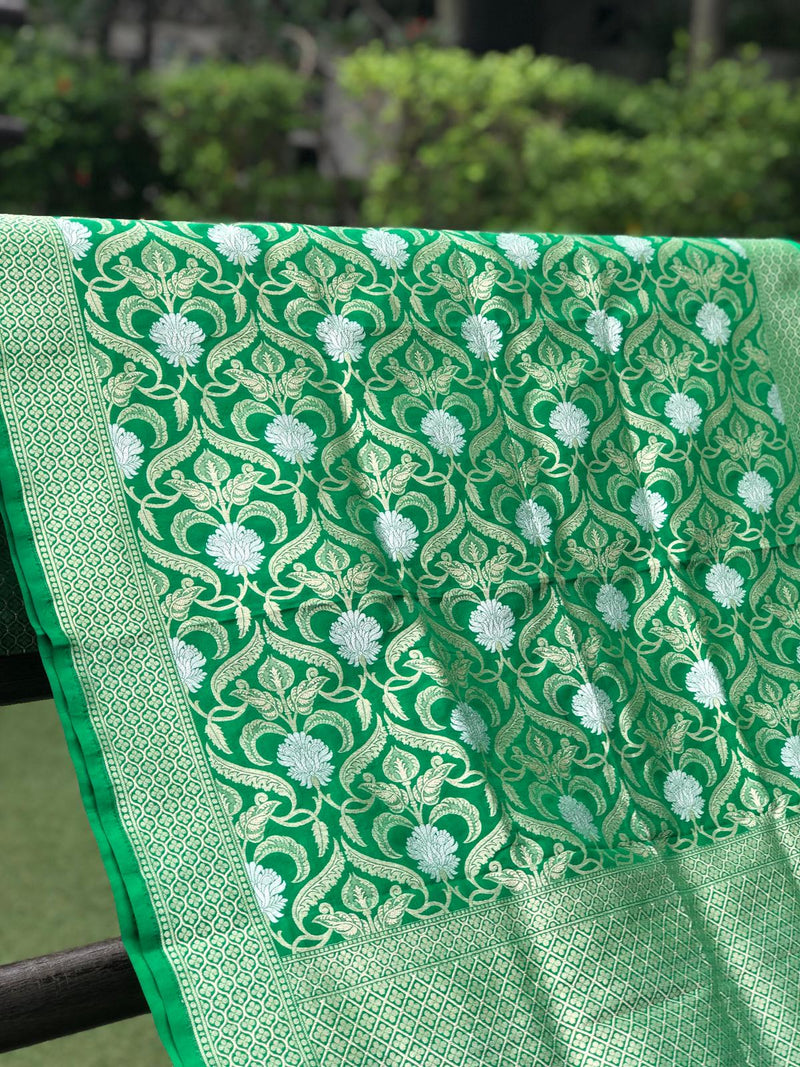 Bottle Green Pure Silk Handloom Banarasi Mehraab Boota Dupatta