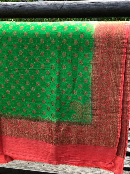 Green & Orange Pure Moonga Silk Banarasi Dupatta with Antique Zari