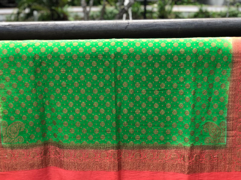 Green & Orange Pure Moonga Silk Handloom Banarasi Dupatta - Khinkhwab