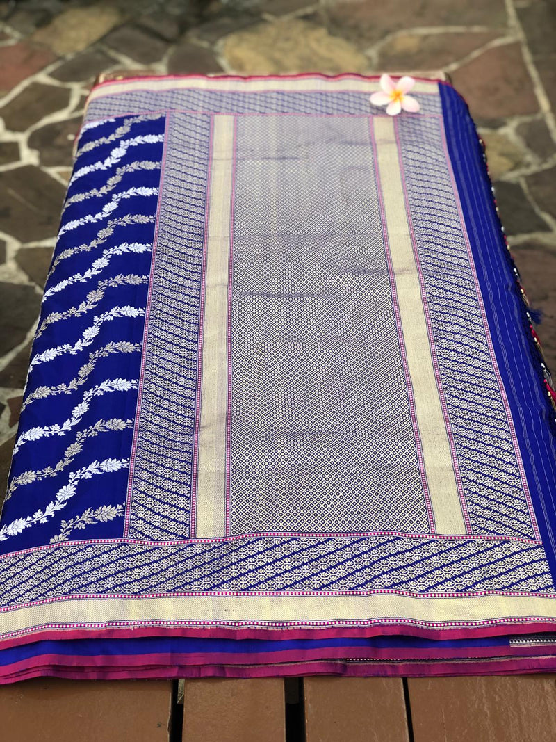 Royal Blue Pure Silk Handwoven Banarasi Saree in Ada Doriya Weaves - Khinkhwab