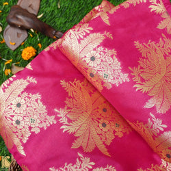 Hot Pink Banarasi Brocade Fabric - Khinkhwab