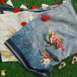 Grey & Beige Pure Cotton Floral Digital Print Saree - Khinkhwab