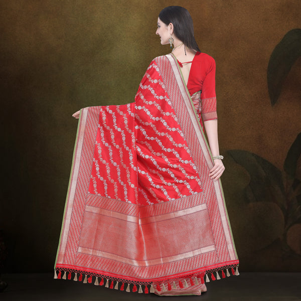 Red Pure Katan Silk Banarasi Handloom Saree - Khinkhwab