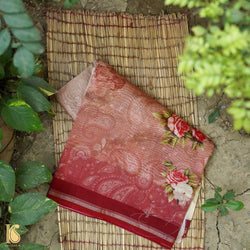 Brown & Beige Pure Cotton Print Floral Saree - Khinkhwab