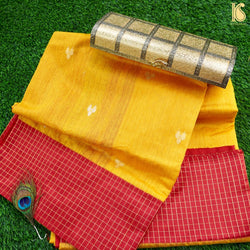 Yellow Pure Cotton By Dupion Silk Handloom Banarasi Saree - Khinkhwab