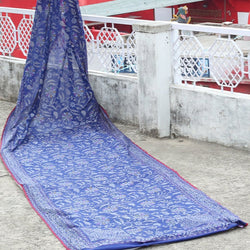 Egyptian Blue Pure Cotton Handloom Banarasi Saree in Pure Zari-Pre Order
