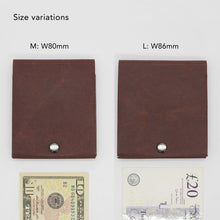 Load image into Gallery viewer, Kamino slim bifold wallet comes in two sizes to fit larger banknotes such as EUR and GBP.
