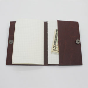 Kamino Notebook Cover can also be used as a notebook wallet that holds a few credit cards, business cards, and cash.