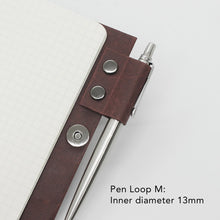 Load image into Gallery viewer, Kamino notebook cover pocket with the pen loop M holds a Parker Jotter perfectly.