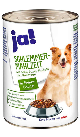 JA! Game, Turkey, Noodles and carrots in delicious sauce Wet Dog Food Can 400g Wet Dog Food JA!
