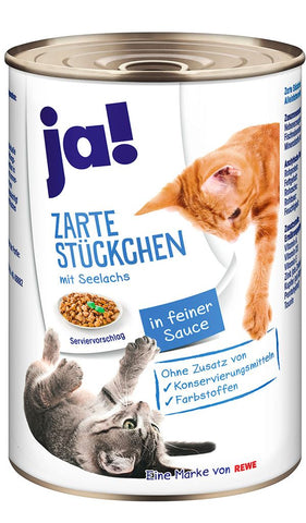 JA! Hearty Pollock and Sea Salmon Fish Chunks Cat Wet Food Can 415g Wet Cat Food JA!