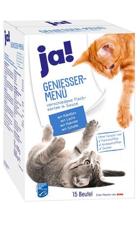 JA! MULTIPACK of 5 fish variety Cat food 15x100g (1.5kg) Wet Cat Food JA!