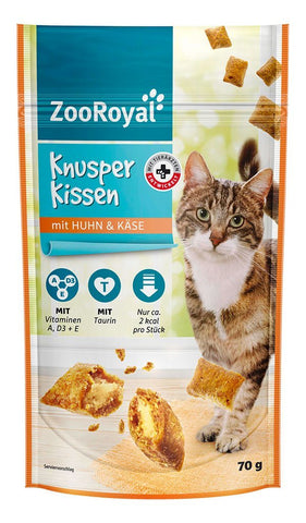 ZooRoyal Cat Crispy Pouches With Chicken & Cheese Cat Treats Zooroyal