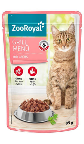 ZooRoyal Cat Grill Menu with Salmon Wet Cat Food Zooroyal