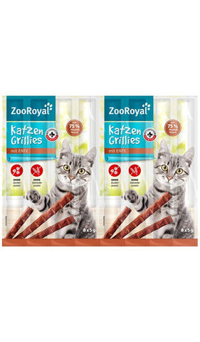 ZooRoyal Cat-Grillies with Duck (8 Pcs) Cat Treats Zooroyal
