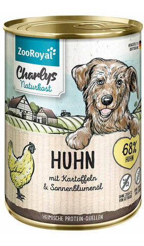 ZooRoyal Charlys health food chicken with potatoes & sunflower oil 400g Wet Dog Food Zooroyal
