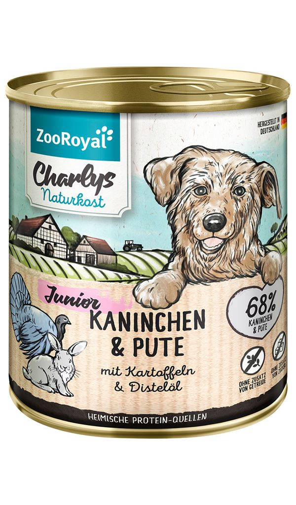 ZooRoyal Charlys Natural Food Junior Rabbit & Turkey with potatoes & safflower oil 800g Wet Dog Food Zooroyal