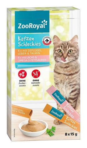 ZooRoyal Creamy Cat Snack Sachets Poultry Liver and Salmon 8x15g Cat Treats Zooroyal