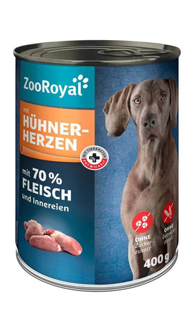 ZooRoyal Dog Food Canned Chicken Hearts Wet Dog Food Zooroyal