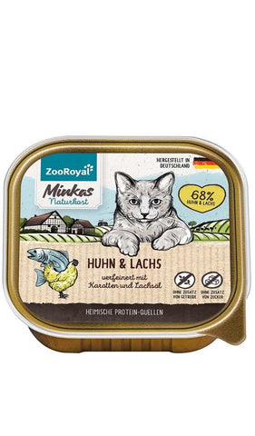 ZooRoyal Minka Chicken and Salmon Tray 100g Wet Cat Food Zooroyal