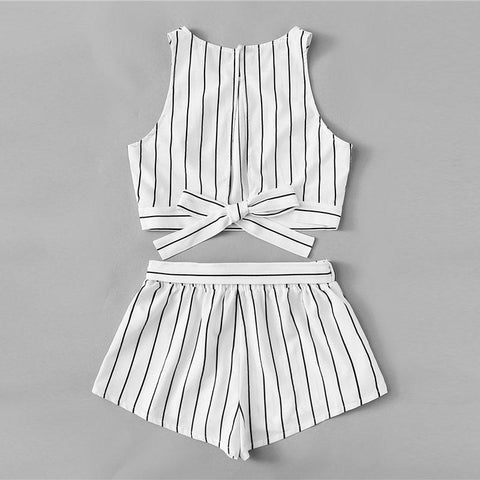 Ensemble top-short - Collection Classy White pour femme - Vêtement d'été - PlageLa.com