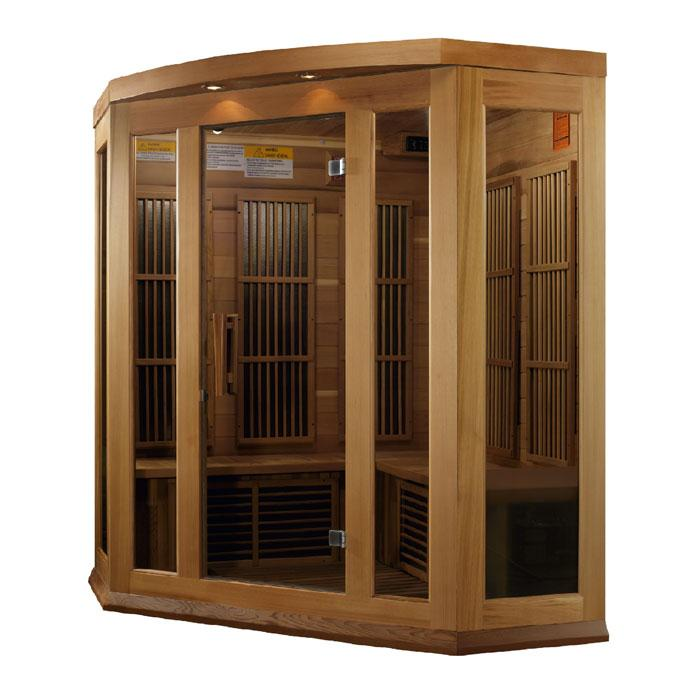 MX-K356-01 Cedar Maxxus 3 Per Low EMF FAR infrared Carbon Corner Canadian Red Cedar Sauna