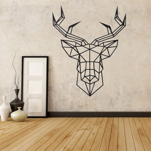 Geometric Deer Head Sticker Modern Home Decor Animal Series Decals 3D Vinyl Wall Art