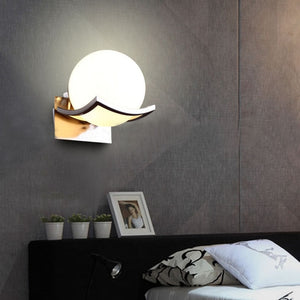 Unique Creative Metal Glass Ball Wall Lamp for Passage Corridor Bedroom Bedside Lamp